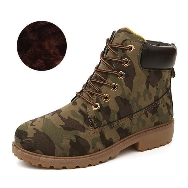 Men Winter Shoes / Warm Plush Ankle Boots for Cold Winter-Army green winter-6.5-JadeMoghul Inc.