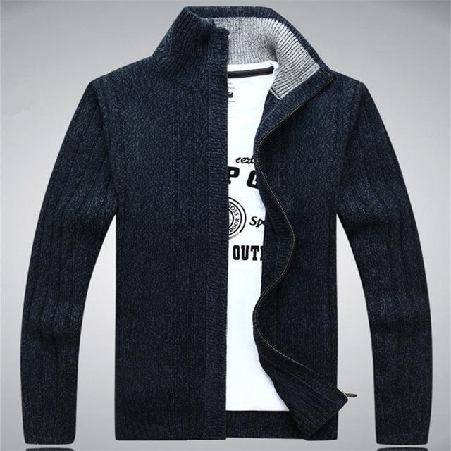 Men Winter Wool Blend Cardigan / Fashionable Sweater For Men-203 Navy Blue-S-JadeMoghul Inc.