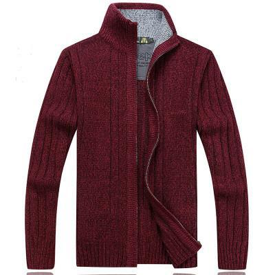 Men Winter Wool Blend Cardigan / Fashionable Sweater For Men-203 Red-S-JadeMoghul Inc.