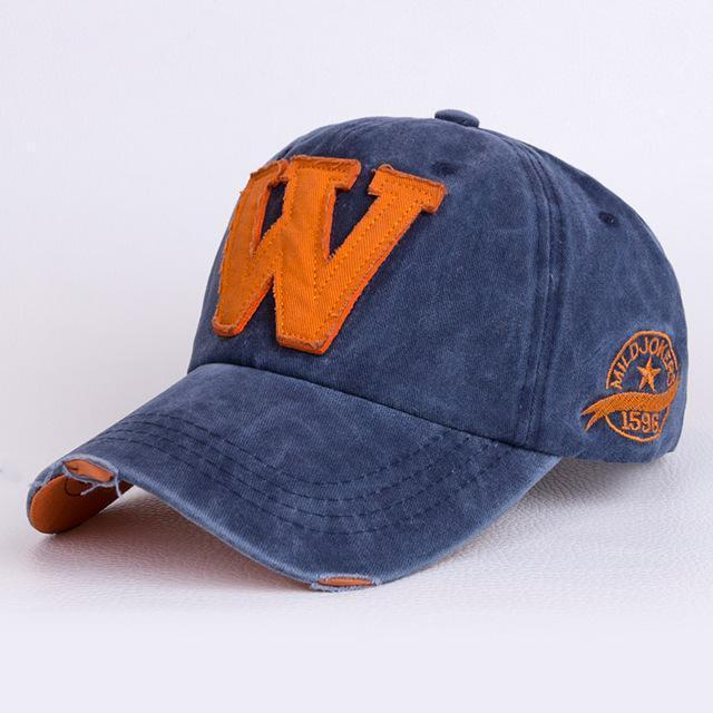 "Men / Women Unisex Distressed Denim Embroidered "" W ""Base Ball Hat-Blue-JadeMoghul Inc."