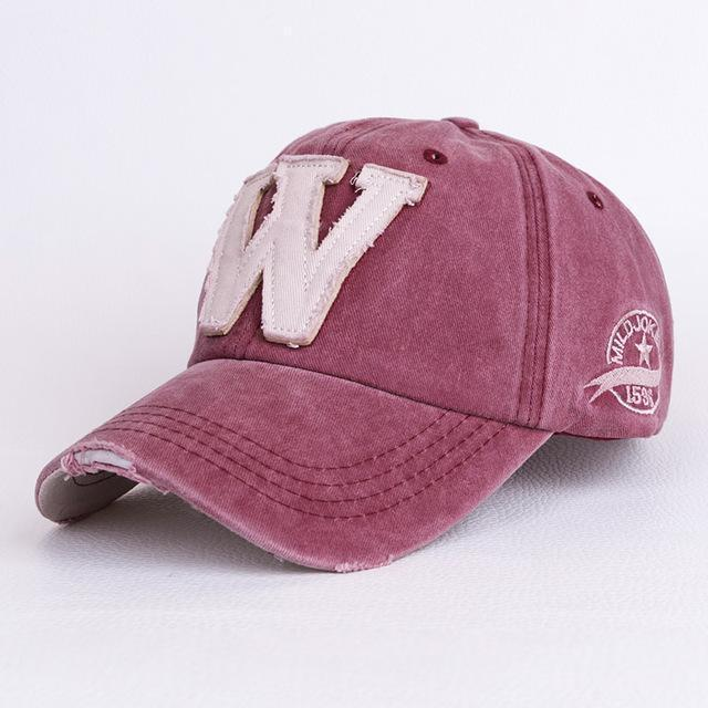 "Men / Women Unisex Distressed Denim Embroidered "" W ""Base Ball Hat-Wine-JadeMoghul Inc."