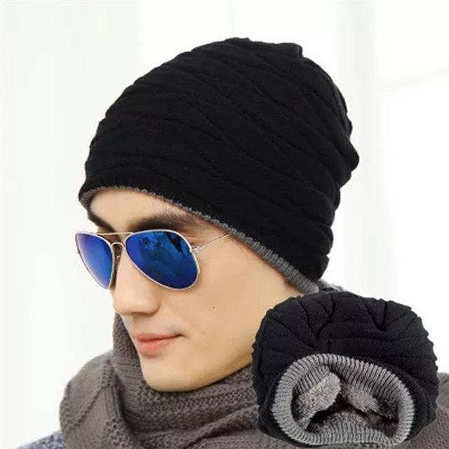 Men / Women Unisex Wool knit Slouch Beanie With Soft Fur Lining-black-JadeMoghul Inc.