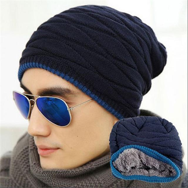 Men / Women Unisex Wool knit Slouch Beanie With Soft Fur Lining-navy-JadeMoghul Inc.