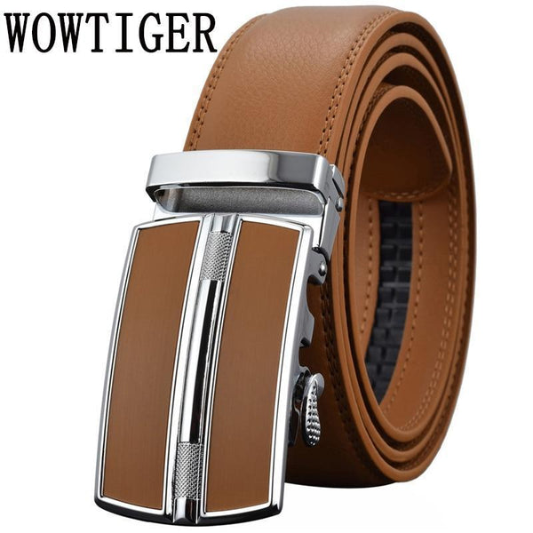 Men's Belts Luxury Automatic Buckle Genuine Leather Strap Black Brown for Men-Red-120cm-JadeMoghul Inc.