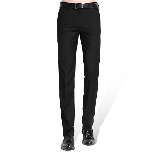 Men's Black Suit Pant - Flat-Front Straight Slim-Fit Straight Trousers - Solid Dress Pants-Navy blue-28-JadeMoghul Inc.