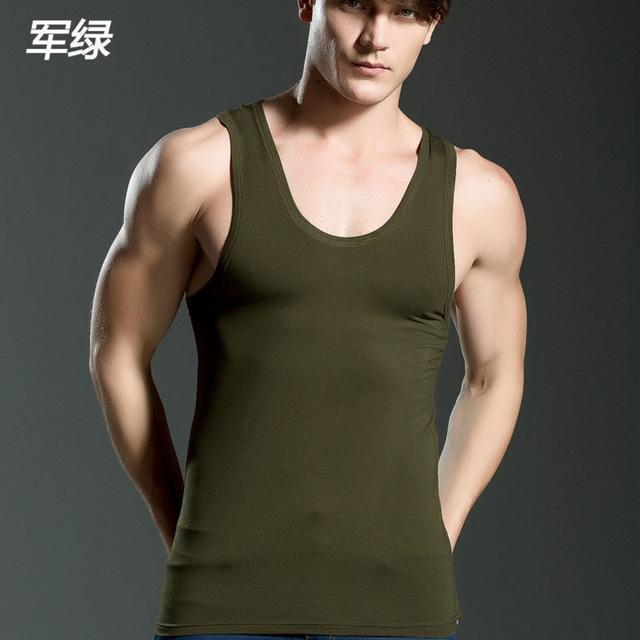 Mens Close-Fitting Vest / Fitness Elastic Casual O-Neck-armygreen-XL-JadeMoghul Inc.