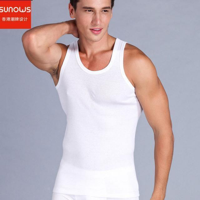 Mens Close-Fitting Vest / Fitness Elastic Casual O-Neck-white-L-JadeMoghul Inc.