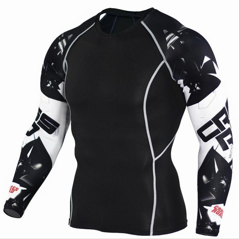 Mens Compression 3D Wolf Jersey / Long Sleeve Fitness Men Shirt-TC116-Asian S-JadeMoghul Inc.