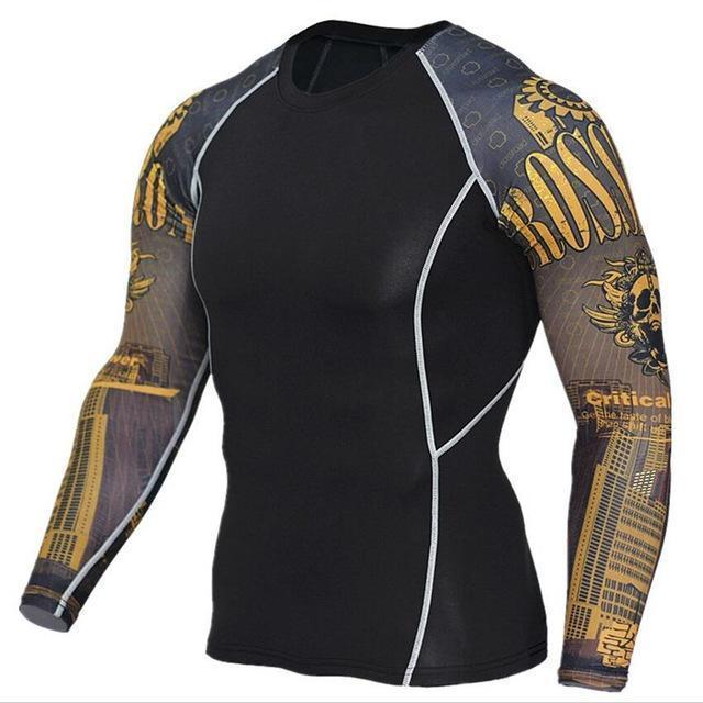 Mens Compression 3D Wolf Jersey / Long Sleeve Fitness Men Shirt-TC117-Asian S-JadeMoghul Inc.