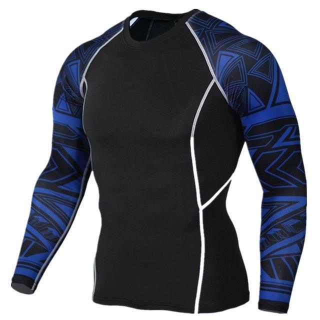 Mens Compression 3D Wolf Jersey / Long Sleeve Fitness Men Shirt-TC118-Asian S-JadeMoghul Inc.