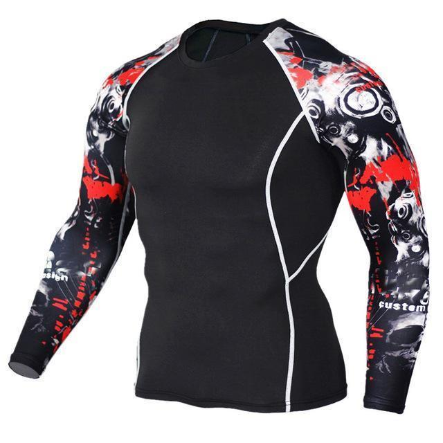 Mens Compression 3D Wolf Jersey / Long Sleeve Fitness Men Shirt-TC119-Asian S-JadeMoghul Inc.