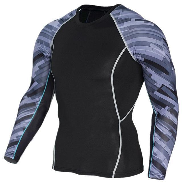 Mens Compression 3D Wolf Jersey / Long Sleeve Fitness Men Shirt-TC122-Asian S-JadeMoghul Inc.