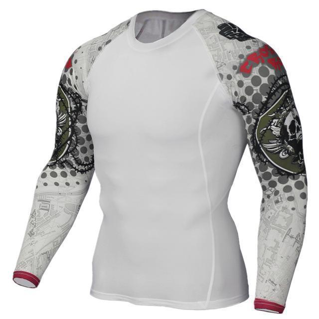 Mens Compression 3D Wolf Jersey / Long Sleeve Fitness Men Shirt-TC124-Asian S-JadeMoghul Inc.