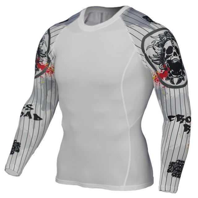 Mens Compression 3D Wolf Jersey / Long Sleeve Fitness Men Shirt-TC127-Asian S-JadeMoghul Inc.