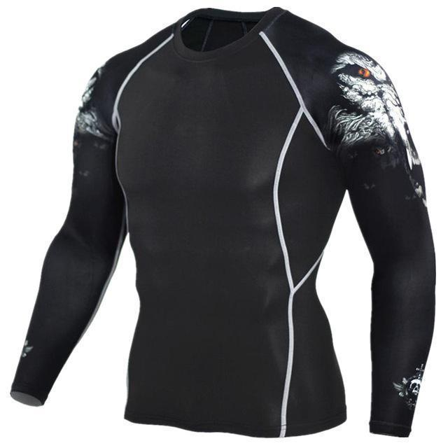 Mens Compression 3D Wolf Jersey / Long Sleeve Fitness Men Shirt-TC96-Asian S-JadeMoghul Inc.