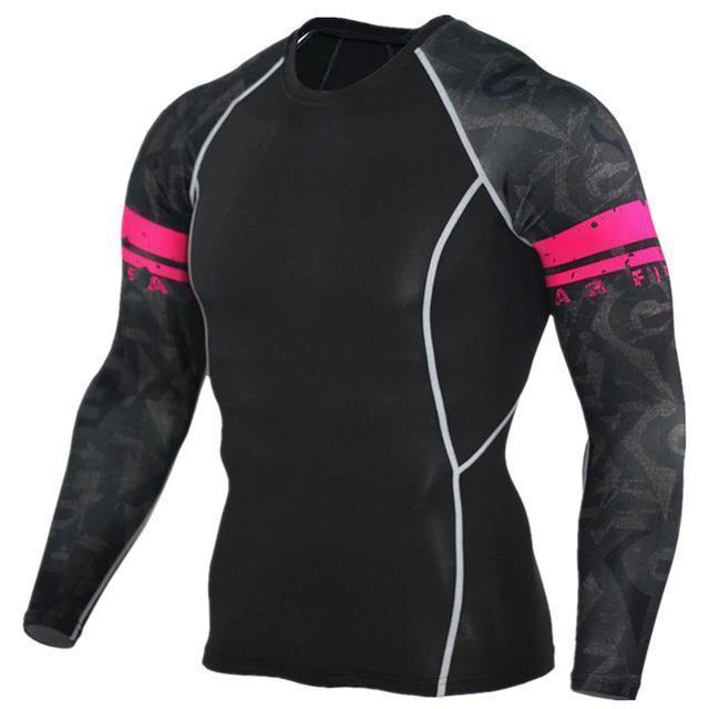 Mens Compression 3D Wolf Jersey / Long Sleeve Fitness Men Shirt-TC97-Asian S-JadeMoghul Inc.
