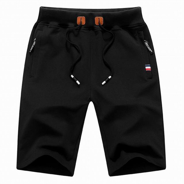 Mens Cotton Shorts 2017 Summer Hot Breathable Male Bermuda Solid Elastic Waist Casual Short Pants Fashion Knee Length M-4XL K721-Black-M-JadeMoghul Inc.