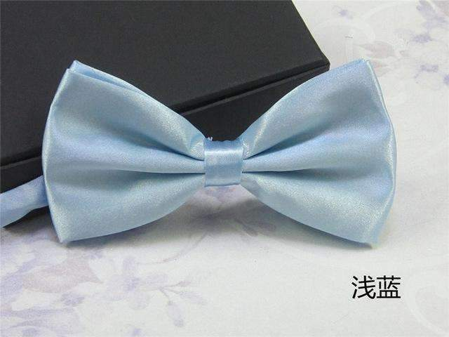 Men's Fashion Silk BowTie-light blue-JadeMoghul Inc.