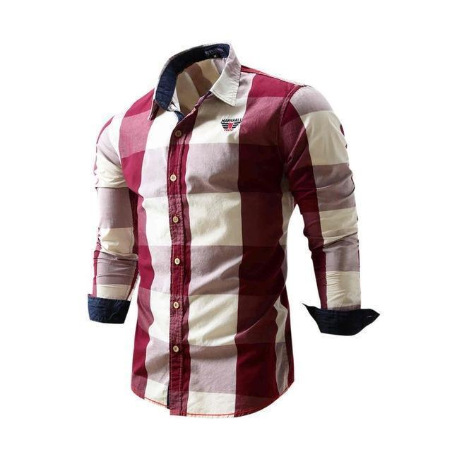 Mens Fashionable Plaid Full Sleeve Casual Shirt For Men-Red-L-JadeMoghul Inc.