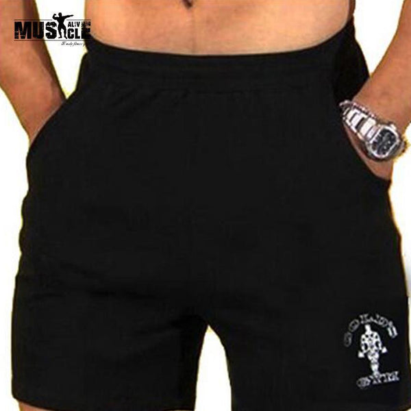 "Men's Gyms Shorts With Pockets Bodybuilding Clothing Men Golds Athlete Fitness Bermuda Weight Lifting Workout Cotton 5"" Inseam-Gold Black 7 inseam-M-JadeMoghul Inc."