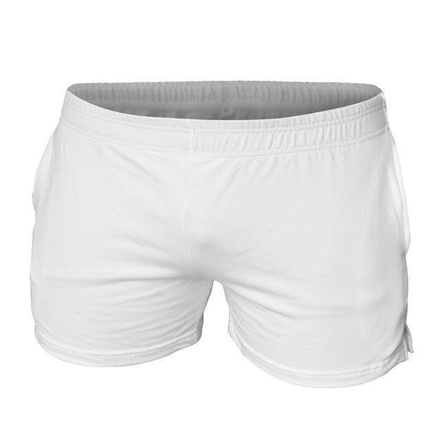 "Men's Gyms Shorts With Pockets Bodybuilding Clothing Men Golds Athlete Fitness Bermuda Weight Lifting Workout Cotton 5"" Inseam-Plain white 3 inseam-XL-JadeMoghul Inc."