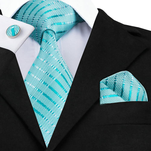 Mens Tie Blue Stripe Silk Jacquard Necktie Hanky Cufflink Set Business Wedding Party Ties For Men Men's Gift C-703-JadeMoghul Inc.