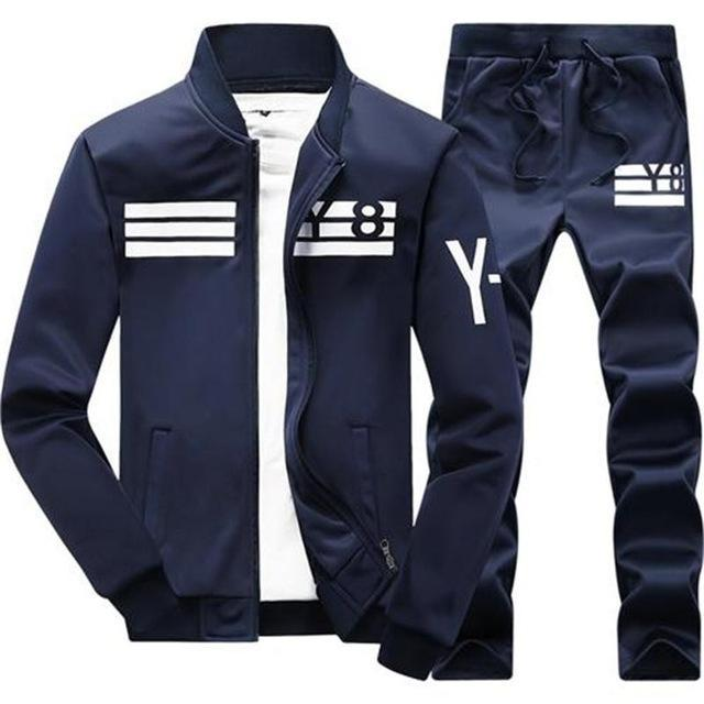 Mens Tracksuit Set / Stand Collar Sportswear / Casual Fitness Clothing Set-D05 dark blue-XL-JadeMoghul Inc.