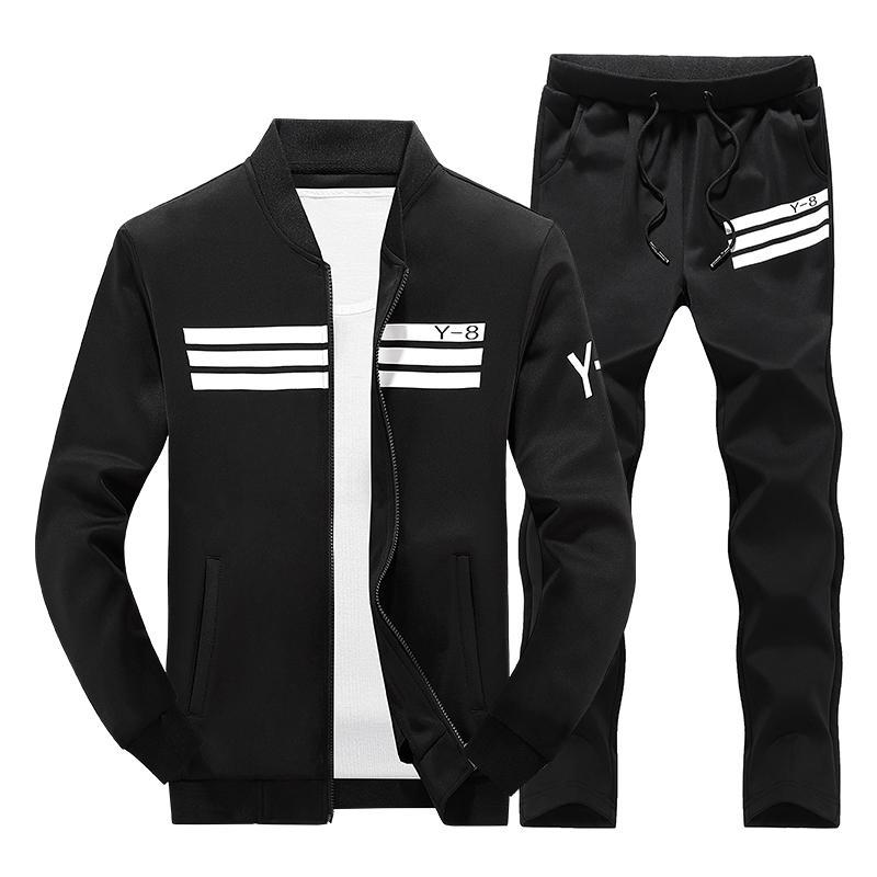Mens Tracksuit Set / Stand Collar Sportswear / Casual Fitness Clothing Set-D05 white-M-JadeMoghul Inc.