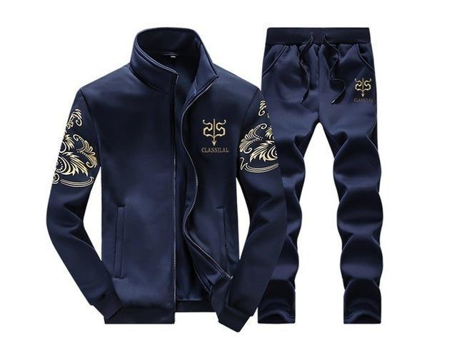 Mens Tracksuit Set / Stand Collar Sportswear / Casual Fitness Clothing Set-D38 dark blue-XL-JadeMoghul Inc.