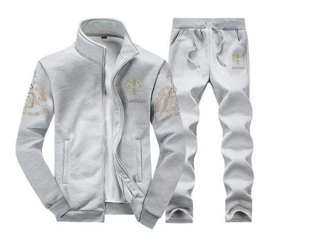 Mens Tracksuit Set / Stand Collar Sportswear / Casual Fitness Clothing Set-D38 gray-XL-JadeMoghul Inc.