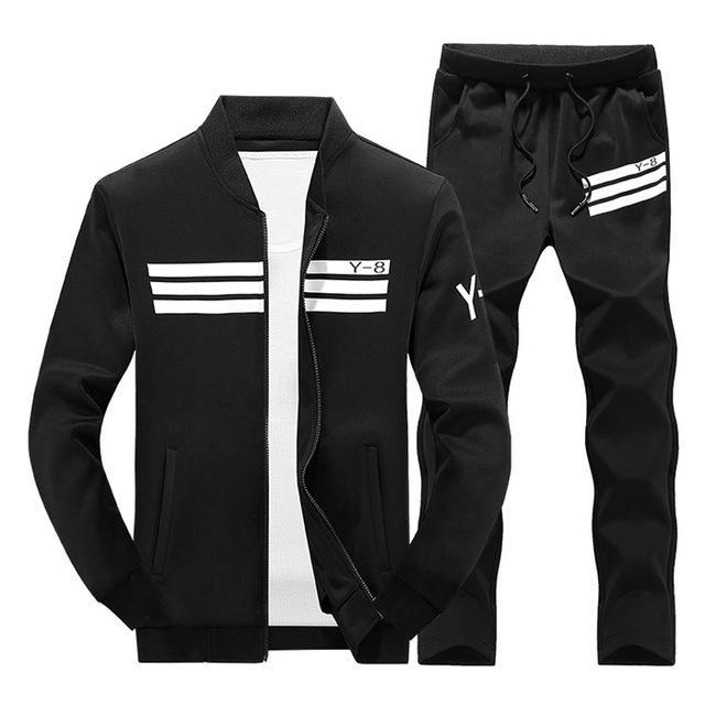 Mens Tracksuit Set / Stand Collar Sportswear / Casual Fitness Clothing Set-TZ207 black-XL-JadeMoghul Inc.