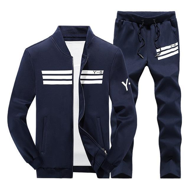 Mens Tracksuit Set / Stand Collar Sportswear / Casual Fitness Clothing Set-TZ207 darkblue-XL-JadeMoghul Inc.