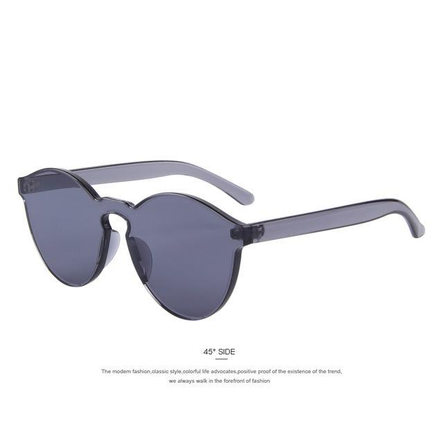 MERRY'S Fashion Women Cat Eye Shades Luxury Sun glasses Integrated Eyewear Candy Color UV400-C01 Gray-JadeMoghul Inc.