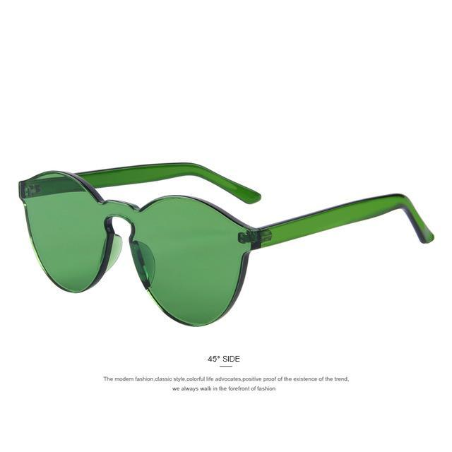 MERRY'S Fashion Women Cat Eye Shades Luxury Sun glasses Integrated Eyewear Candy Color UV400-C03 Green-JadeMoghul Inc.