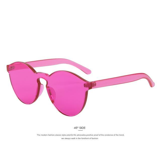 MERRY'S Fashion Women Cat Eye Shades Luxury Sun glasses Integrated Eyewear Candy Color UV400-C04 Red-JadeMoghul Inc.
