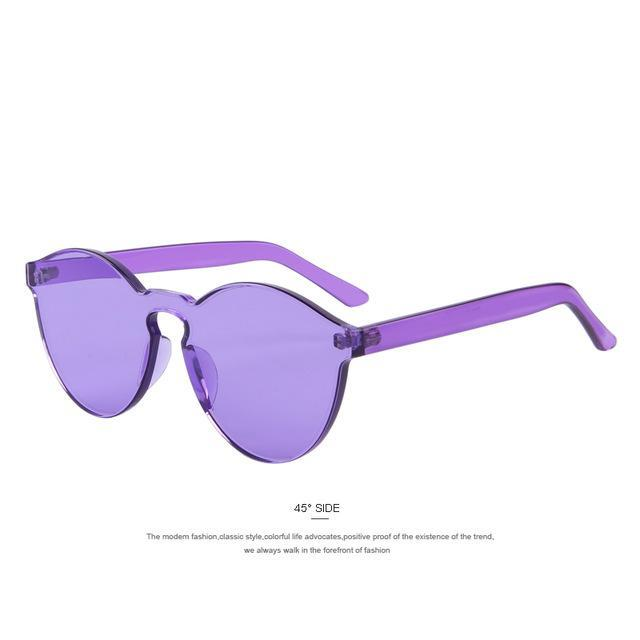 MERRY'S Fashion Women Cat Eye Shades Luxury Sun glasses Integrated Eyewear Candy Color UV400-C05 Purple-JadeMoghul Inc.