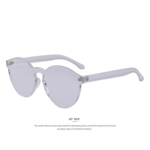 MERRY'S Fashion Women Cat Eye Shades Luxury Sun glasses Integrated Eyewear Candy Color UV400-C06 Transparent-JadeMoghul Inc.
