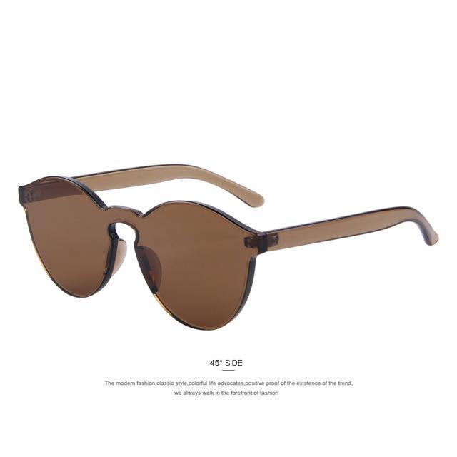 MERRY'S Fashion Women Cat Eye Shades Luxury Sun glasses Integrated Eyewear Candy Color UV400-C07 Brown-JadeMoghul Inc.