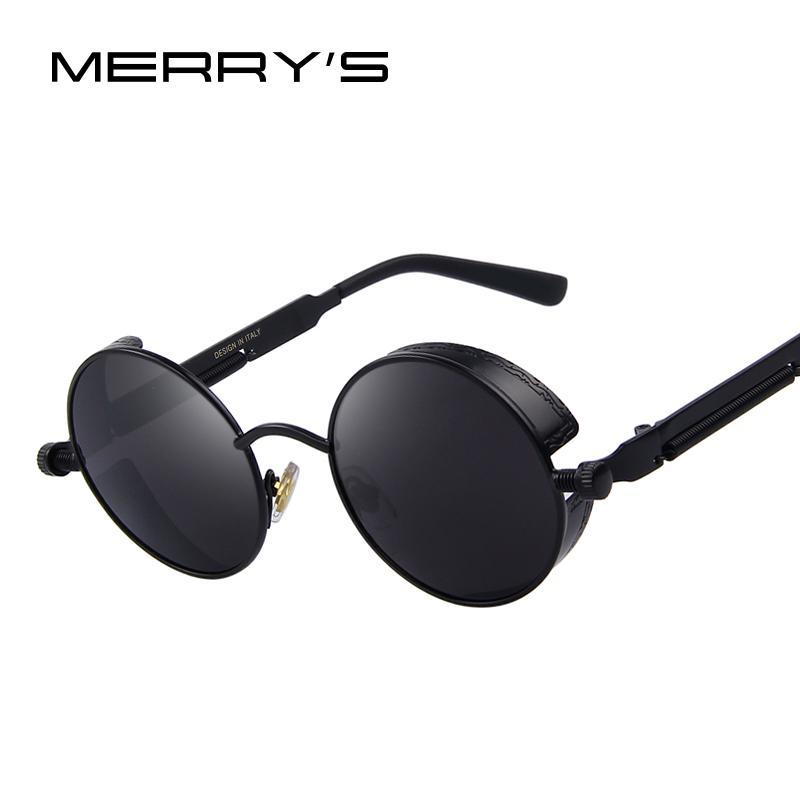 MERRY'S Vintage Women Steampunk Sunglasses Brand Design Round Sunglasses Oculos de sol UV400-C01 Black-JadeMoghul Inc.