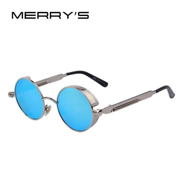 MERRY'S Vintage Women Steampunk Sunglasses Brand Design Round Sunglasses Oculos de sol UV400-C02 Silver Blue-JadeMoghul Inc.
