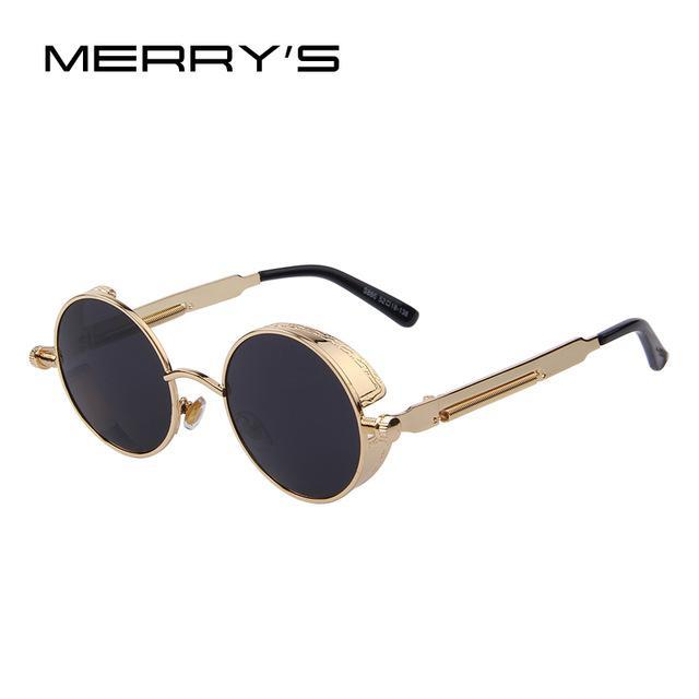 MERRY'S Vintage Women Steampunk Sunglasses Brand Design Round Sunglasses Oculos de sol UV400-C03 Gold Black-JadeMoghul Inc.