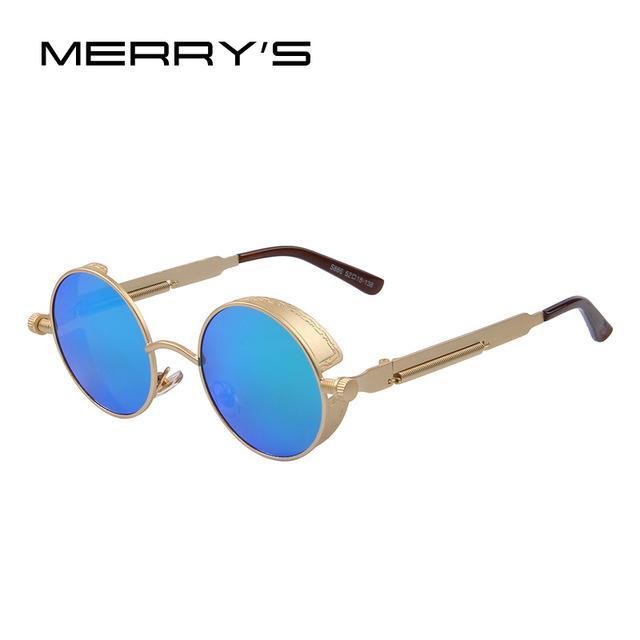 MERRY'S Vintage Women Steampunk Sunglasses Brand Design Round Sunglasses Oculos de sol UV400-C05 Gold Green-JadeMoghul Inc.