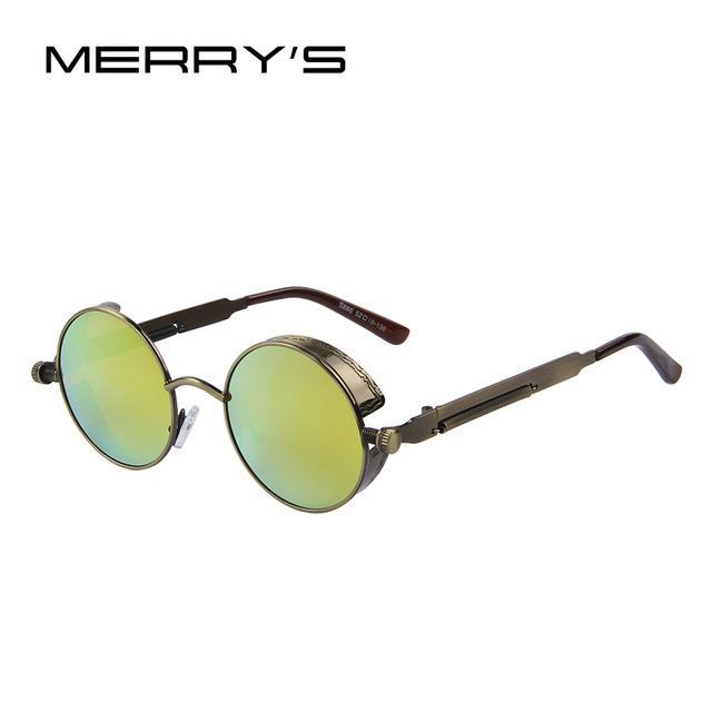 MERRY'S Vintage Women Steampunk Sunglasses Brand Design Round Sunglasses Oculos de sol UV400-C06 Brown Gold-JadeMoghul Inc.