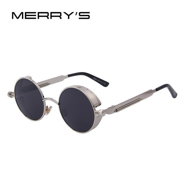 MERRY'S Vintage Women Steampunk Sunglasses Brand Design Round Sunglasses Oculos de sol UV400-C08 Silver Black-JadeMoghul Inc.