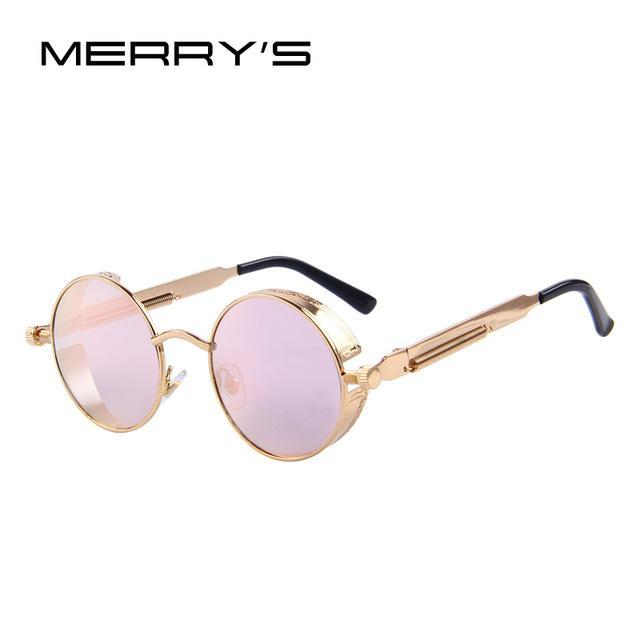 MERRY'S Vintage Women Steampunk Sunglasses Brand Design Round Sunglasses Oculos de sol UV400-C09 Gold Pink-JadeMoghul Inc.