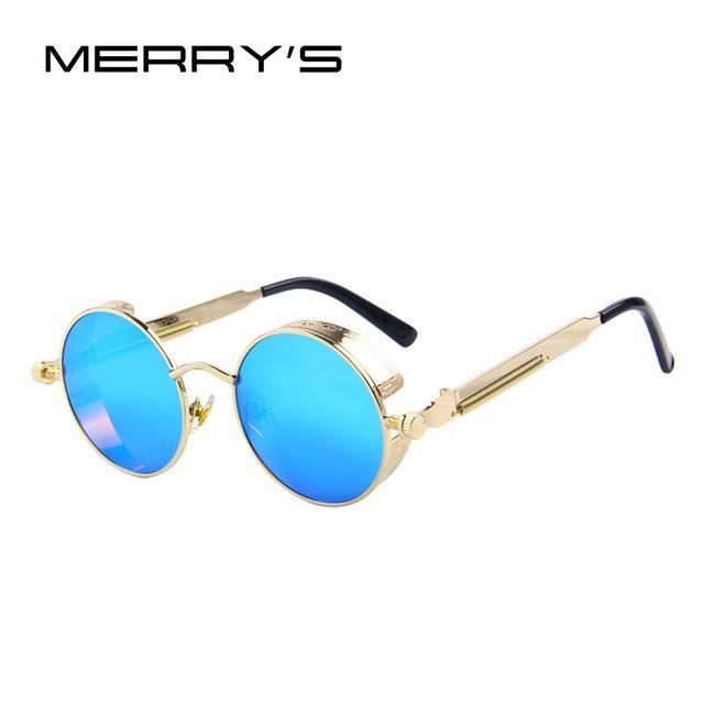 MERRY'S Vintage Women Steampunk Sunglasses Brand Design Round Sunglasses Oculos de sol UV400-C10 Gold Blue-JadeMoghul Inc.