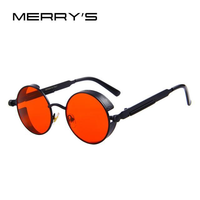 MERRY'S Vintage Women Steampunk Sunglasses Brand Design Round Sunglasses Oculos de sol UV400-C11 Black Red-JadeMoghul Inc.