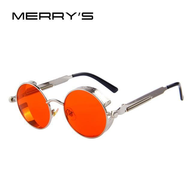 MERRY'S Vintage Women Steampunk Sunglasses Brand Design Round Sunglasses Oculos de sol UV400-C12 Silver Red-JadeMoghul Inc.