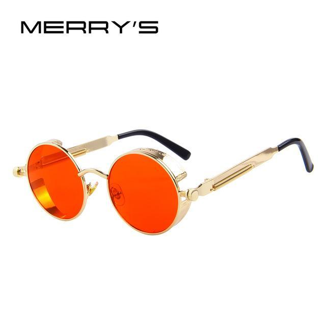 MERRY'S Vintage Women Steampunk Sunglasses Brand Design Round Sunglasses Oculos de sol UV400-C13 Gold Red-JadeMoghul Inc.