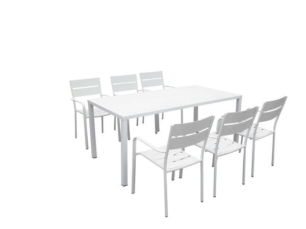 Metal 7 Piece Outdoor Dining Set with Plank Style Arm Chairs, White-Patio Furniture-White-Aluminum-JadeMoghul Inc.